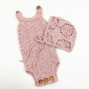 Other - Handmade Crotchet Romper & Bonnet